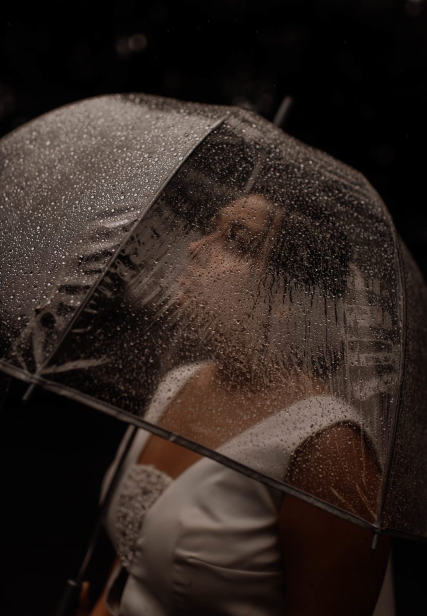 bride under an umbrella